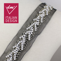 Fashion design 5.0cm width various beads crystal pearl beaded lace trim