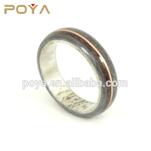 POYA Jewelry New Antler And Wood Jewelry Grey Maple And Deer Antler With Dinosaur Bone, Meteorite And Copper Inlay Wedding Bands