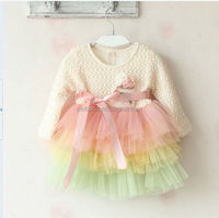 2016 Hot Selling Winter Baby Princess Dress Cake Design Ruffle Kids Long Sleeve Frock Dress