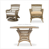 Coastal designed restaurant patio rattan dining furniture with open weave and round top outdoor tables chairs