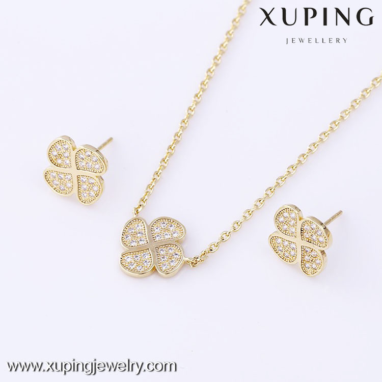 61622 XUPING Latest Design Copper Alloy Jewelry 14k Gold Color Jewelry Set Four Leaf Clover Earring and Pendant Set
