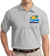 Grey color soft pique cotton polyester blend polo t shirt with heat transfer printing logo