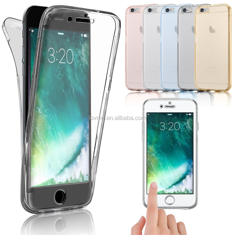 Shockproof 360 Degree Silicone Gel TPU Protective Clear Case Cover For Apple iPhone 7, For iPhone 7 Back Case