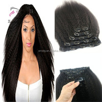 Factory Direct Selling Brazilian Virgin Hair Kinky Straight Clip In Hair Extensions Remy Clip On Real Hair