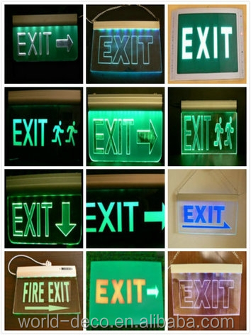 led light rechargeable emergency light exit sign with double side 12v led exit sign with battery edge light acrylic led sign