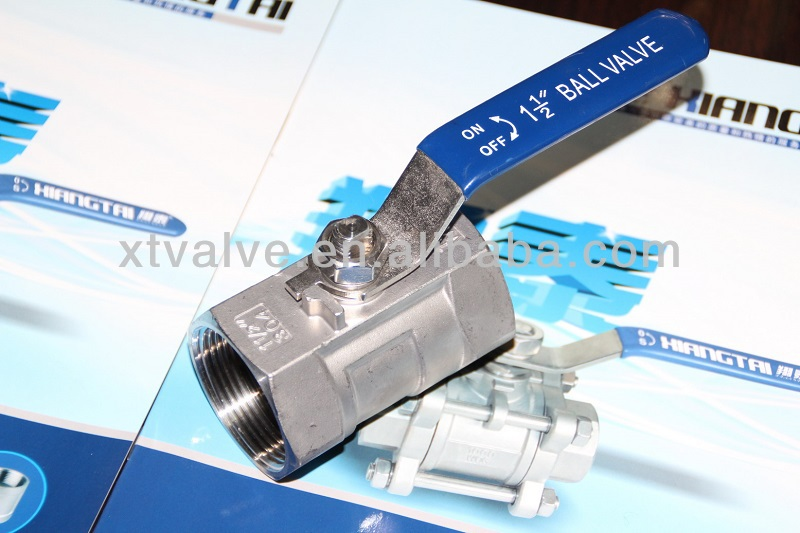 Stainless Steel Manual Lever 1PC Ball Valve, Screwed End, SS316, 800PSI