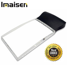 "LED Light 2X Large Rectangular Handheld Reading Magnifying Glass, 2.3"" X 4"" Rimless Distortion-Free Magnifier Lens."