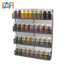 Kitchen Accessories Multi-tier Wall mounted Metal Hanging Spice Storage Rack for Kitchen