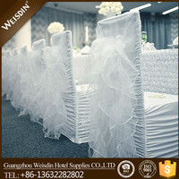 Weisdin cheap romantic wedding chair cover with colourful organza sash for sale