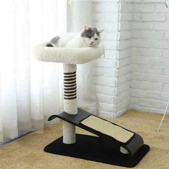 Fashion wholesale 100% wool pedestal soft bed cat climbing tree,simple cat tree with scratcher board