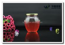 Fancy custom made canning glass jars with screw metal lid 450ml