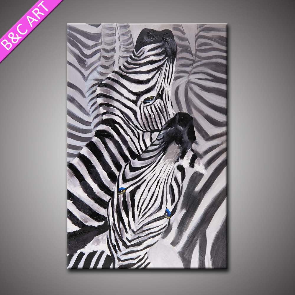 Abstract Animal Wall Art Dating Zebras Easy Oil Painting Pictures For Living Room