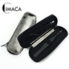 2pcs black stainless steel eyebrow tweezers set with pu pouch for gift set
