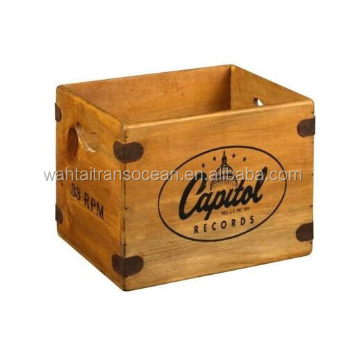 "Vintage Record Box 12"" LP Wooden Album Crate Capitol Records Retro Vinyl Storage"