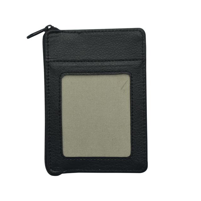 black genuine leather slim leather wallet rfid card holder zipper wallets
