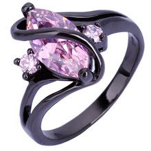 First Class CZ Marquis Large Stone Ring Black Gold White Gold Plated Finger Ring For Women