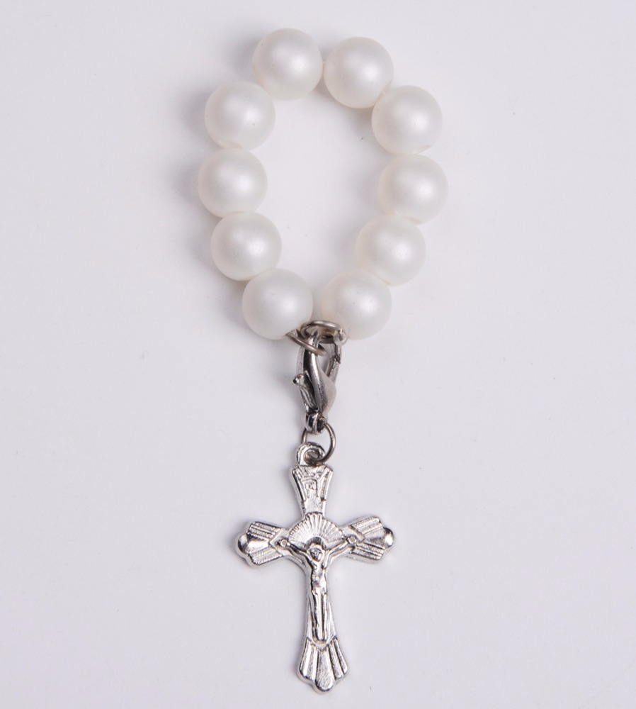 Finger Ring Rosary ImitationPearl Bead Rosary Finger Ring with Crucifix Cross
