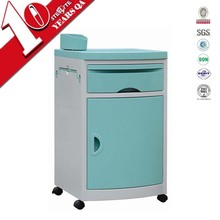 Cheap plastic metal hospital bedside table with mobile castor