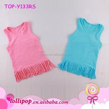 Kids Baby cute cotton sleeveless blouse racer back fringe tees clothes casual newborn children blank girl tassel shirts