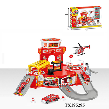 Alloy cars parking garage toys with music