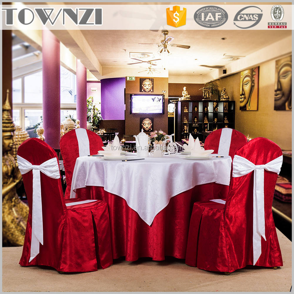 100% Polyester Material Factory Sell Wedding Chair Cover Decoration Hotel Linen Wedding Table Cloth Chair Cover
