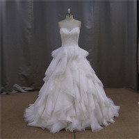Cap sleeves ball gown organza dress patterns bridal gown