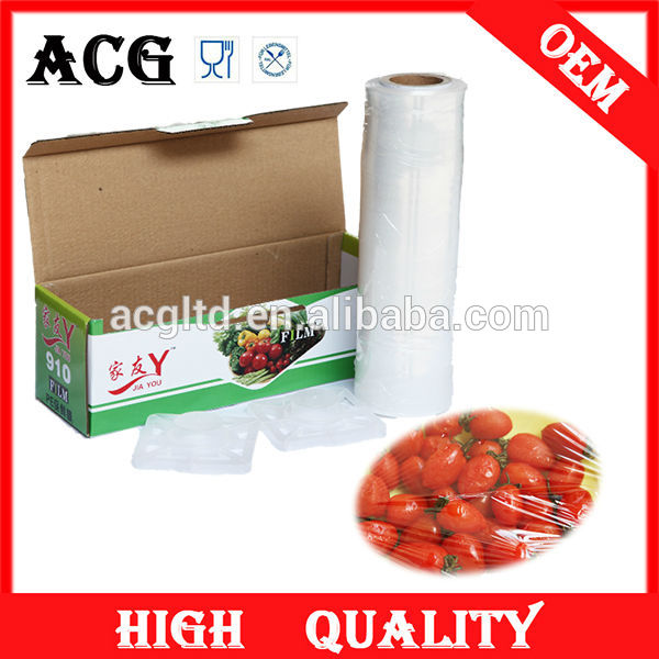 Food baking and strong industrial plastic sealing pe stretch wrap film with oem color box