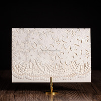 jewelry design elegant wedding invitation card with flower laser cut and embossing CW5187