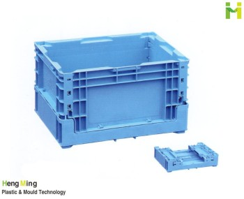 Folding plastic tote box for storage