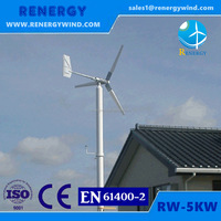 Small-scale 5kva wind power turbine rooftop or ground mounted solar panel hybrid system