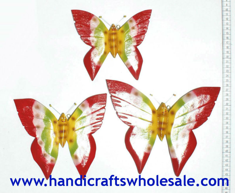 Wood hand carved butterflies figurines sets - Affortable Wooden Wall Art Home decoration - Novelty Animal Woodcarving Statues