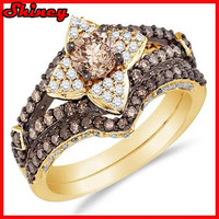 Vintage 18K gold plated women ring with white sapphire cz paved wedding ring set