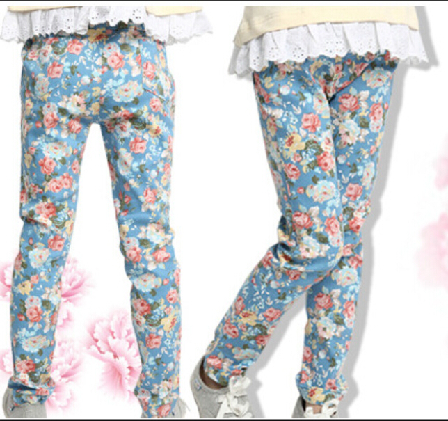 2015 New Fashion Bohemian Style Toddler Girls Floral Pants For Girls From 2 3 4 5 6 7 Years Old Cotton Kids Girls Autumn Pants
