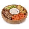 Bamboo Food Tray Revolving Bamboo Round Tray with Removable Dividers