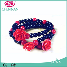 Layers Crystal Beaded Wholesale Flower African Bracelet For Ladies