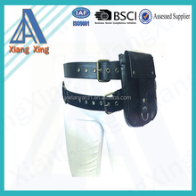 Leather belt with joint bags and hooks and studs