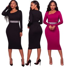 X80282B long sleeve official dresses for women ladies club dresses