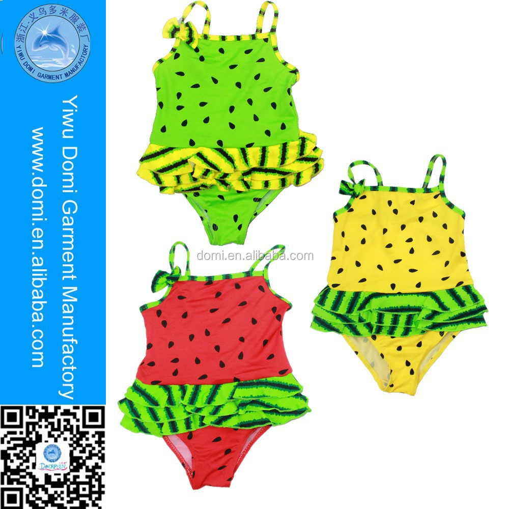Watermelon lovely one piece children swimwear baby girls swimsuit in color red yellow and green