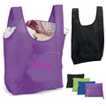 Lightweight Polyester fabric large capacity reusable foldable bag in pouch