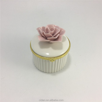 Flower design ceramic jewelry box