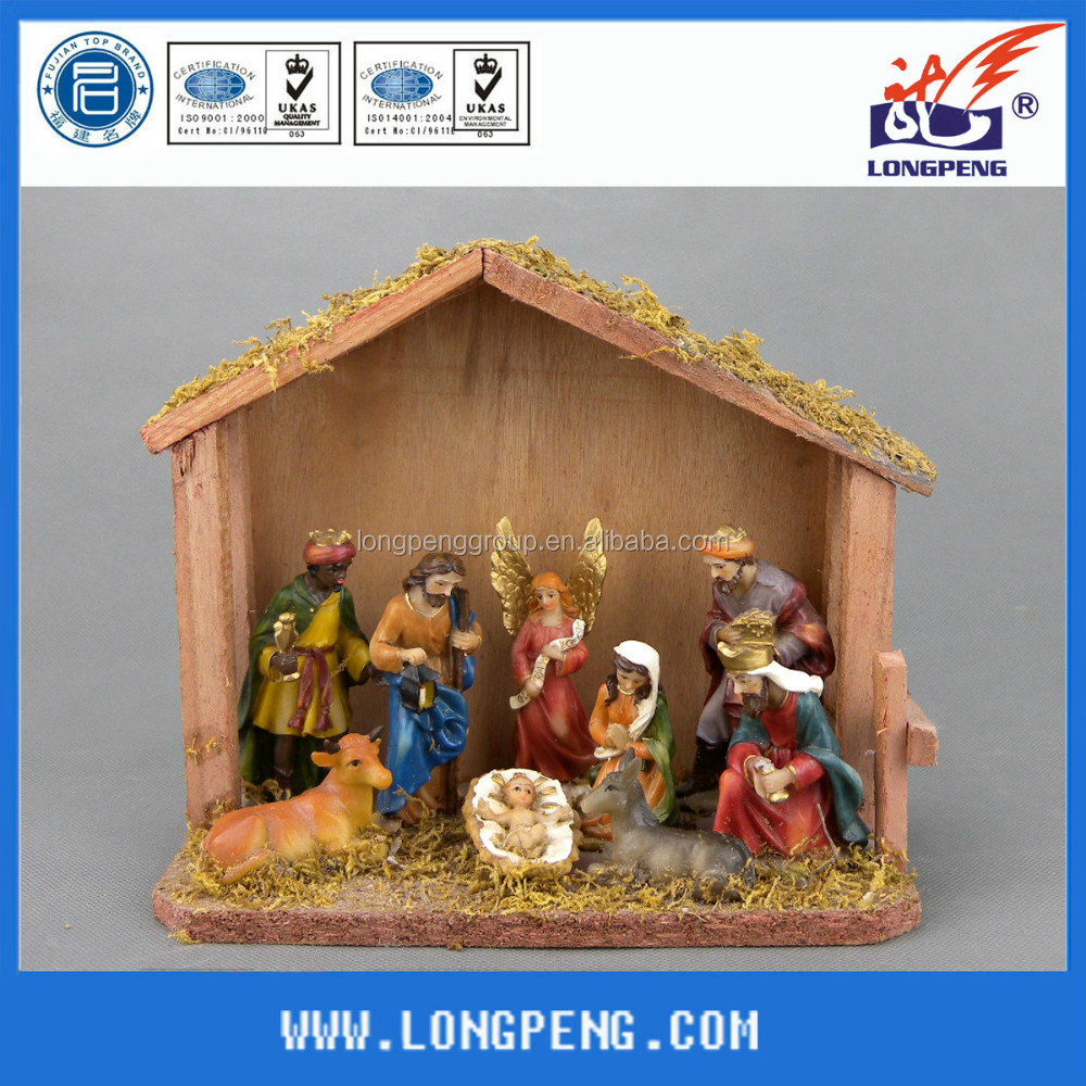 Holy Family with Wise Men and Angel Religious Christmas Nativity Scene