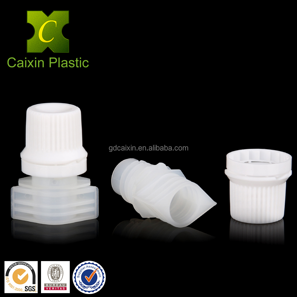 9.6MM flexible drinking plastic pouch nozzle with screw cap
