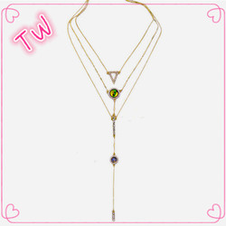 High end luxury American diamond jewellery wholesale elegant women party wear artificial 14k gold long chain imitation necklace