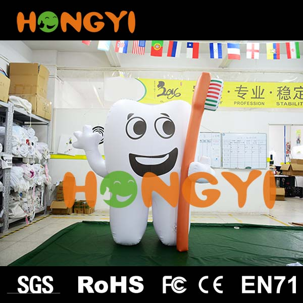 Customized printing inflatable advertising tooth balloons giant cartoon inflatable replica teeth model for publicity