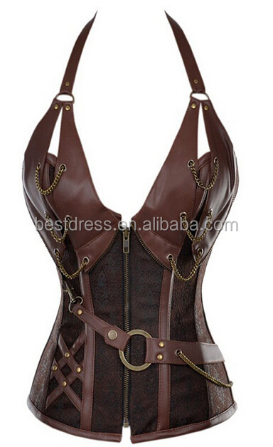 walson Sexy Brown Steel Bone halter Faux Leather Steampunk Gothic Corset