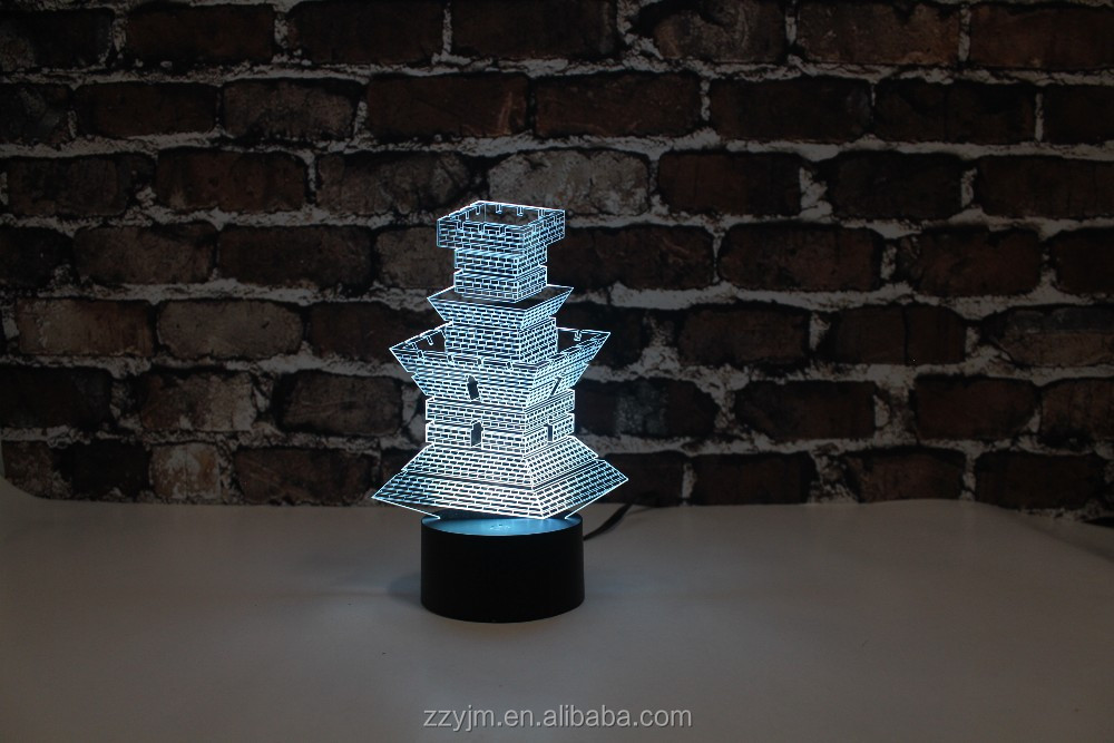 Free Shipping, YJM-2894, Architecture or Castle , 3D LED Decorated Colorful Nightlights, Table or Bed Lamp with Touch Control