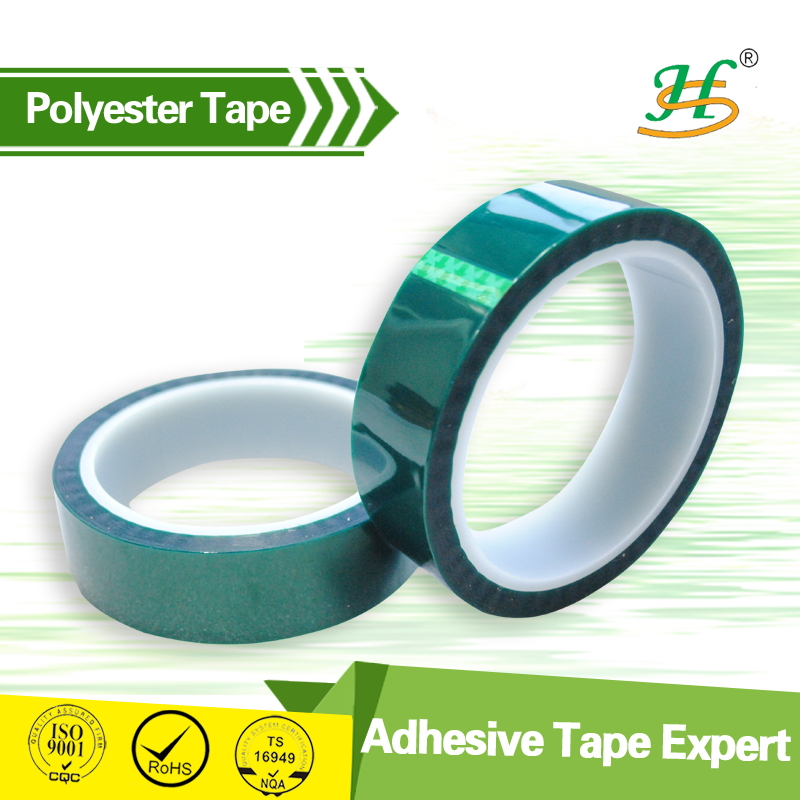Silicone <strong>adhesive</strong> coated green wholesale polyester tape