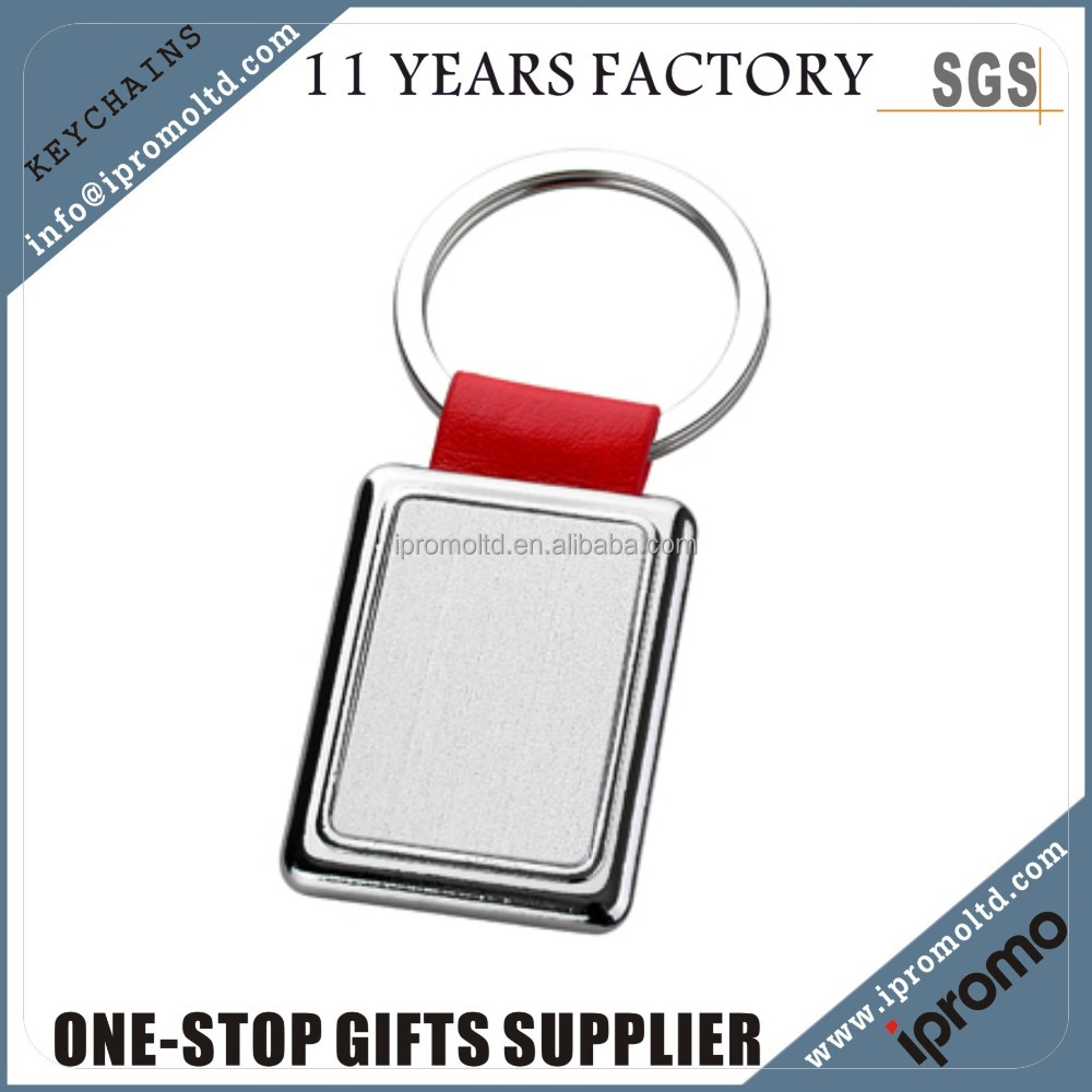 plastic rectangle keyring casting custom made metal shaped middle blank keychain