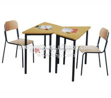 Trapezium Double Child Study Table and Chair Furniture Melamine Guangzhou