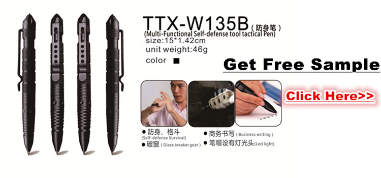 High Quality Customized Logo Metal Engraved Tactical Pen with Box for Girl